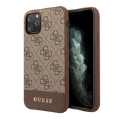 Чехол Guess 4G Stripe Metal logo Hard для iPhone 11 Pro Max, коричневый