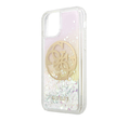 Чехол Guess Liquid glitter 4G Circle logo Hard Iridescent для iPhone 11