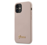 Guess для iPhone 12 mini (5.4) чехол Liquid Silicone Gold metal Logo Hard Pink